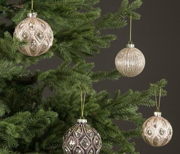 Christbaumkugel Rosa/ Silber Weihnachten Shabby Vintage Nostalgie Weihnachten Nr. 4