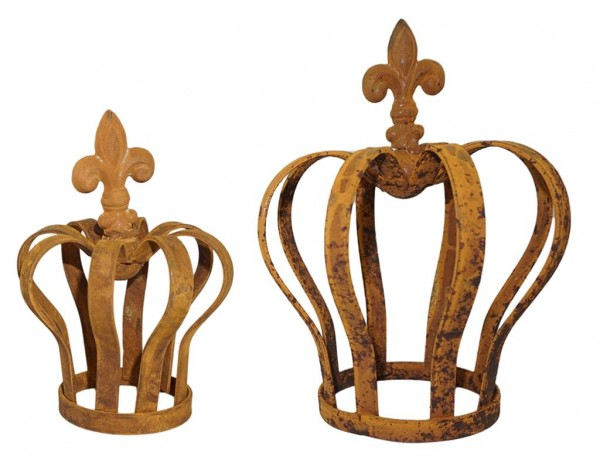 2x Dekokrone Krone Rost Metallkrone Gartenkrone Garten Vintage Deko