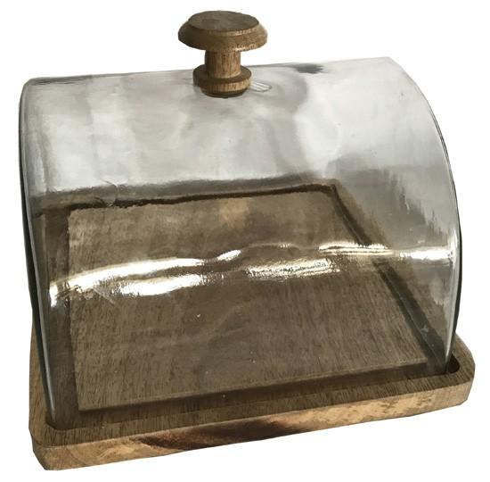 Glasglocke mit Tablett Holz Küche Landhaus, Vintage Garten Quadrat Groß
