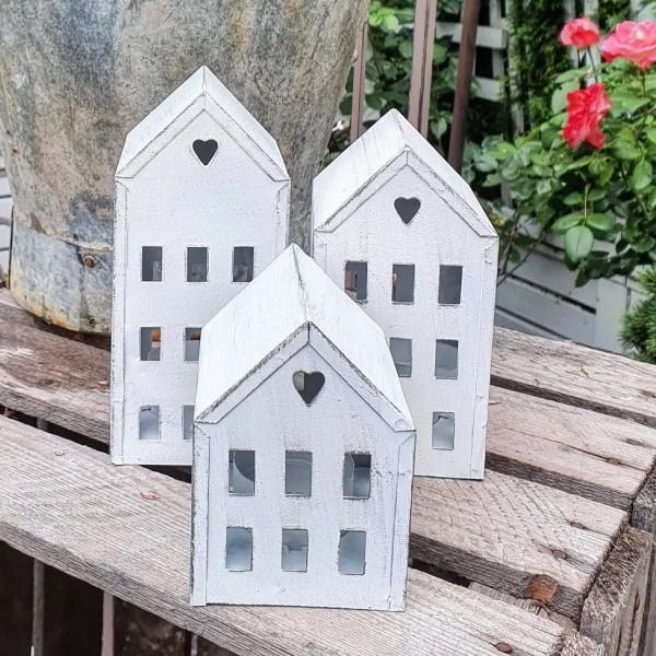 3er Set Laterne Lichthaus Metall Kerzenhaus Shabbby Vintage Landhaus Garten Weiß Klein