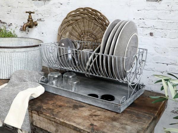 Chic Antique Abtropfgestell mit Tablett Zink Shabby Vintage Landhaus