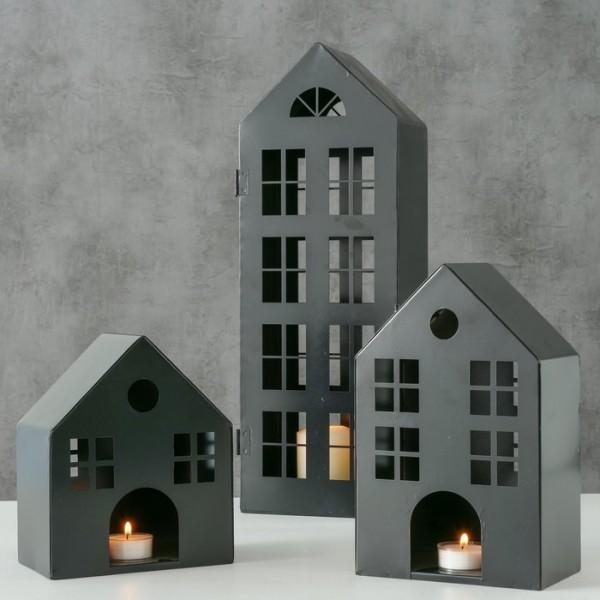 3er Set Laterne Lichthaus Metall Kerzenhaus Shabbby Vintage Landhaus Garten Schwarz