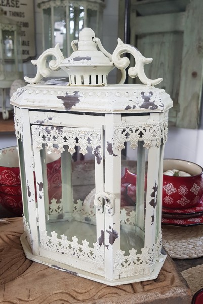 Laterne Windlicht Antikcreme Shabby Vintage Landhaus Nostalgie Weihnachten