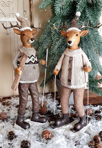 2er Set Hirsche Weihnachten Braun Beige Shabby Vntage Landhaus Deko Klein