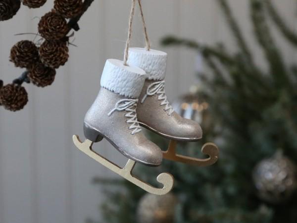 Schlittschuhe mit Juteband Weihnachten Vintage Landhaus Deko Antiksilber