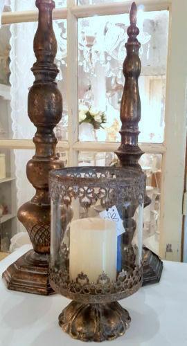 Windlicht Laterne Kerzenständer Metall Antikgold Shabby Vintage Landhaus Deko