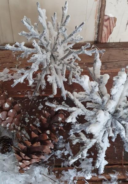 Stern Schneeflocke Weiß beschneit Weihnachten Shabby Vintage Landhaus Deko