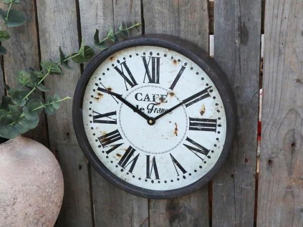 Chic Antique Uhr Wanduhr Metall Antikohle Shabby Vintage Nostalgie Factory Deko