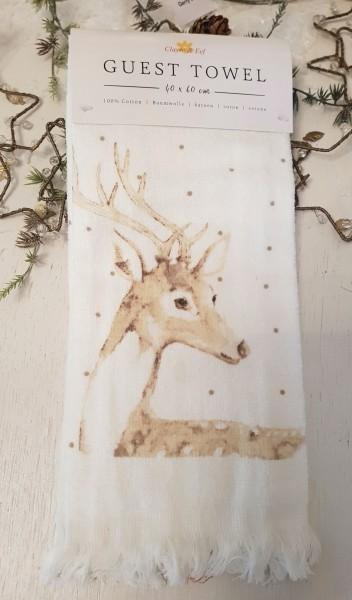 Gästehandtuch Handtuch Hirsch 40 x 60 Clayre & Eef Weihnachten A