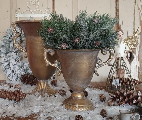 "Pokal Amphore Schale Metall Antikgold Shabby Vintage Nostalgie "" Isadoro"" groß"