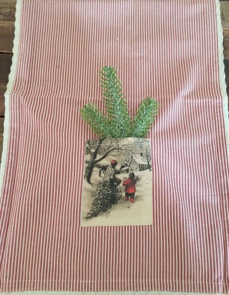 Tischläufer Tischdecke Weiß- Rot Shabby Vintage Landhaus Spize Tasche 140 x40 cm