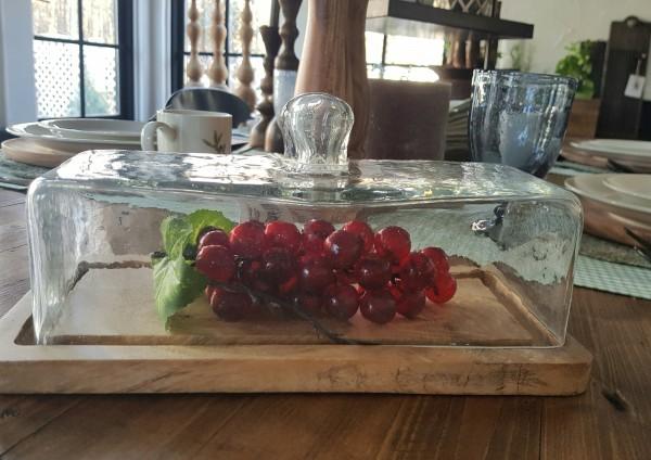 Glasglocke mit Tablett Holz Küche Landhaus, Vintage Garten Rechteck Deko