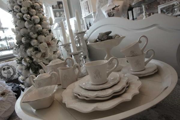 Suppenteller Monogramm Keramik Weiß Shabby Nostalgie Brocante Vintage Landhaus