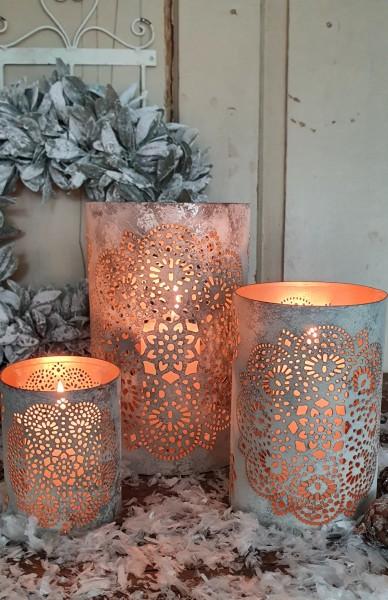 3er Set Windlichter/ Kerzenleuchter Metall Mandala Weiß Shabby Vintage Landhaus Weihnachten