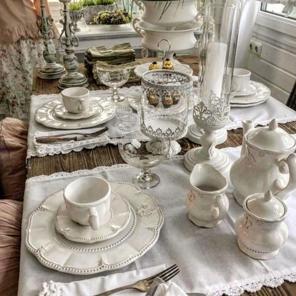 Tischläufer Tischdecke Weiß Shabby Vintage Landhaus Spize 40 x 140 cm