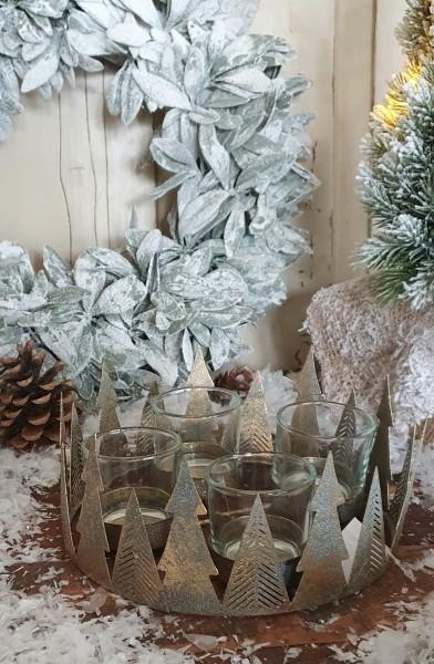 Adventskranz Windlicht Bäume Metall Windlicht Gold Vintage Kerzenleuchter Weihnachten
