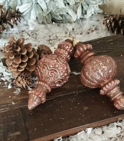 2er Set Christbaumkugeln Altrosa Weihnachten Shabby Vintage Nostalgie Weihnachten Nr.403