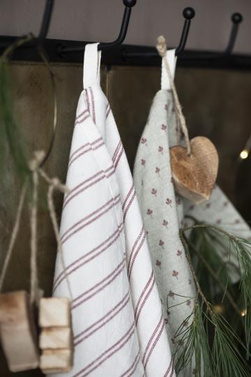 IB Laursen Küchehandtuch Weiß- Rot gestreift Baumwolle Shabby Vintage Landhaus