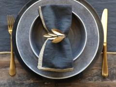 Serviertenring Metall Antik Gold Olive Küche Vintage Landhaus Deko