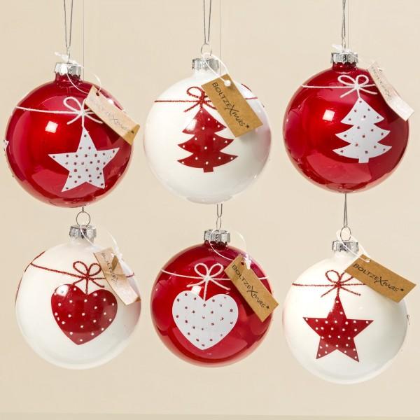 6er Set Christbaumkugel Rot Weihnachten Shabby Vintage Nostalgie Weihnachtsdeko