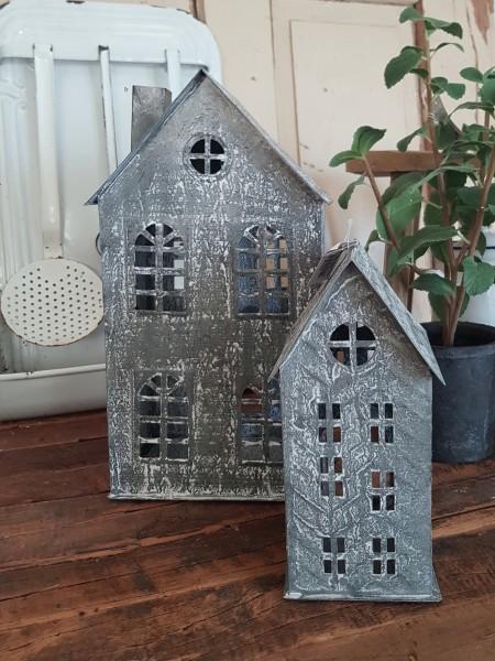 Laterne Lichthaus Metall Antikgrau Shabbby Vintage Landhaus Garten Deko Klein