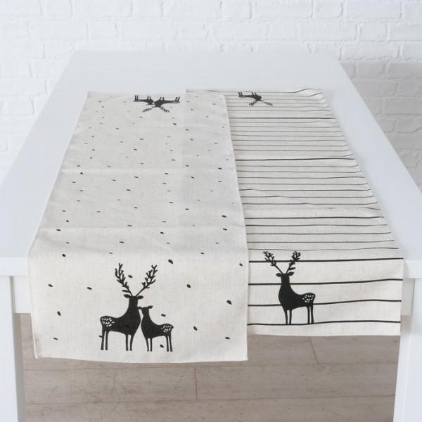 Tischläufer Tischdecke Offwithe Hirsch Punkte Vintage Landhaus 140 x40 cm-Copy